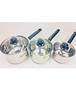 6 Pcs/Set Stainless Steel Deep Sauce Pan With Glass Lid 14/16/18 CM - Br... - $59.30