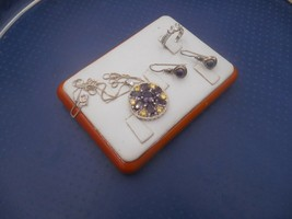 ESTATE JEWELRY LOT STERLING SILVER very pretty colors necklace earrings ... - $25.00