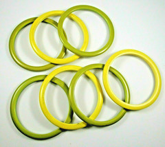 Vintage Bakelite Bangle Bracelet Lot of 7 Set Yellow Green - $123.74