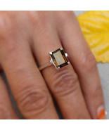 Smokey quartz silver ring Gemstone rings smoky ring Quartz jewelry Prong... - $42.25