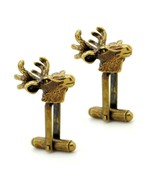 ELK CUFFLINKS Deer Moose Head Brass Tone Hunter Sportsman Hunting Lodge ... - $8.95