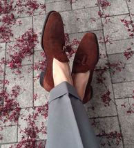 Men's Handmade brown suede loafers, men loafers, casual shoes, driving shoes - $144.99+