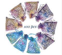 Coralline Gift Bag x100 Multicolor Organza Favor Baby Shower Pouches Wed... - $19.34