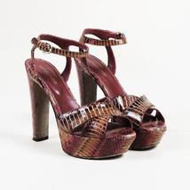 Sergio Rossi Pink Snakeskin Platform Sandals SZ 37 - $230.00