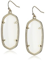 "Kendra Scott ""Signature"" Elle Gold plated White Glass Drop Earrings - $76.00"