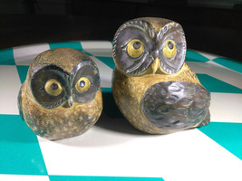 Wonderful Vintage Mid Century Modern Owl Set • Art Pottery • Made in Japan - $18.00