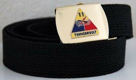 US Army 11th Armored Div Black Military Belt & Buckle - $17.81