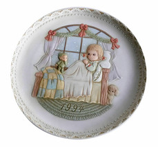 Pleasant Dreams and Sweet Repose Vintage Porcelain Bas Relief Plate 1994 Enesco - $14.01