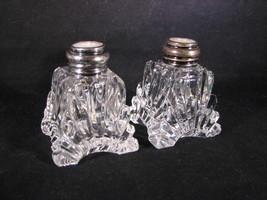 Brilliant Heavy Cut Crystal Salt Pepper Shaker Sterling MOP Lid Arched F... - $41.95