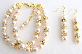 Pearl Bracelet, Bridal Bracelet Bridesmaid Bracelet Gold Rhinestones Bra... - $24.00