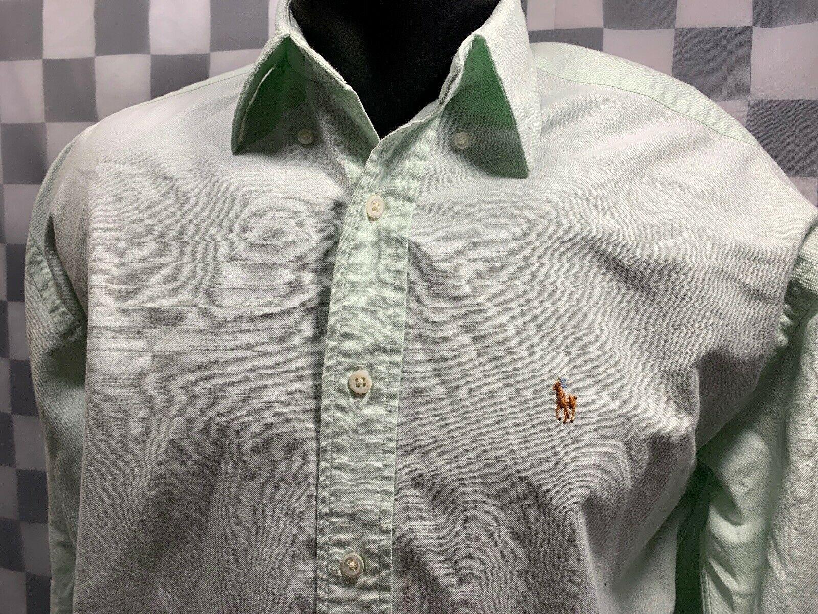 Ralph Lauren The Big Oxford Botón Frontal Verde Lima Camisa Hombre Talla 4