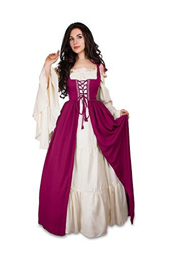 Renaissance Medieval Irish Costume Over Dress & Cream Chemise Set (2XL/3XL, Orch