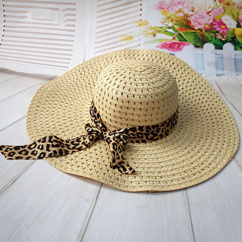 Women Straw Sun Hat With Leopard Ribbon Wide Brim Floppy Foldable Cap Summer Bea image 5