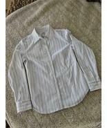 CHICOS Ladies Blouse Fine Black/White Stripe w/Silver Metallic Thread Si... - $9.90