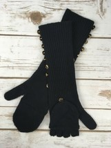 Juicy Couture Gloves Long Pop Top Black Goldtone Button Mittens Wool Cas... - $32.71