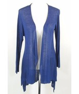 EILEEN FISHER Size M New Sheer Blue Draped High-Low Cardigan Sweater Topper - $79.00
