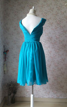 Teal Short Bridesmaid Dresses Prom Dress Teal Color Dresses Sleeveless XXXL NWT image 6