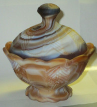 Imperial Glass Matte Slag Covered Candy Dish or Sugar Bowl Paneled Feather - $15.00