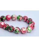9mm Pink Green Rain Flower Jade Beads Grade Round Loose Beads 7.5'' Craf... - $15.65