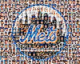 New York Mets Mosaic Print Art designed using 100 of the greatest Mets P... - $42.00+