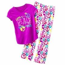 NWT Girls 4 5 XS Purple Peace T Shirt Plush Fleece  Pajama Set Pajamas C... - $7.99