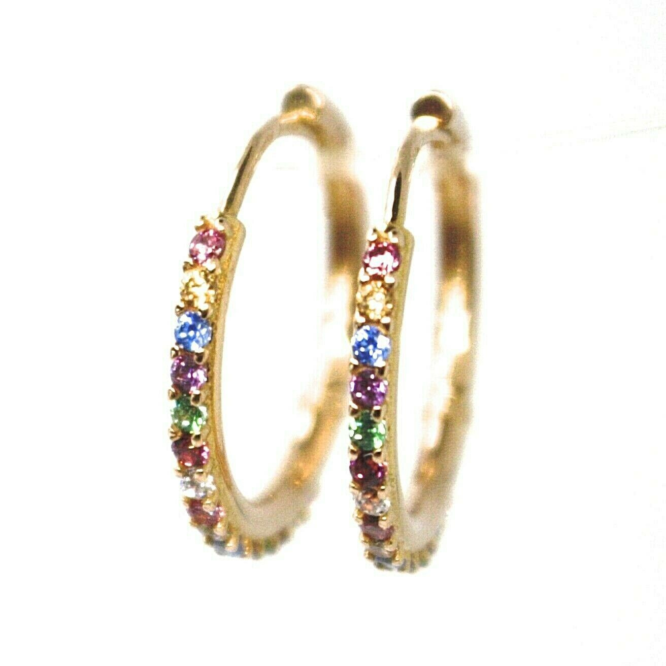 18K ROSE GOLD HOOPS EARRINGS, CUBIC ZIRCONIA MULTI COLOR, 20mm, 0.8 inches
