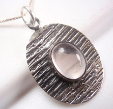 Rose Quartz Oval Etched Lines Necklace 925 Sterling Silver Corona Sun Jewelry - $20.74