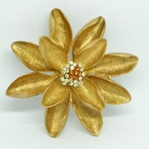 JANUS Signed Yellow Orange Rhinestone Large Gold Tone Flower Pin Brooch ... - $39.59