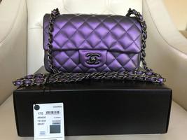 CHANEL Timeless Mini Purple Leather Ruthenium Hardware Flap Messenger Bag - $3,464.01