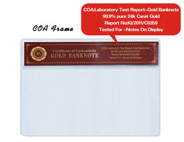 WR Gold Banknote COA Sleeve Certificate Currency Money Holder PVC Frame ... - $3.00