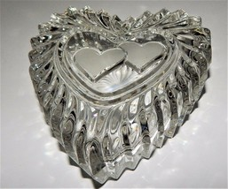 Mikasa Crystal Heart Shaped Frosted Valentine Pattern Trinket Jewelry Gl... - $24.74