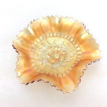 Antique Marigold Carnival Glass Bowl Ruffled Scalloped Edge Vintage Cons... - $103.00
