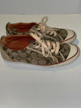 Coach Barrett Sneakers womens Canvas / Leather Trim Sz 7 B - $27.12