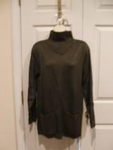 new/pkg NEWPORT NEWS  DARK OLIVE funnel neck long leggings sweater  medium - $14.10