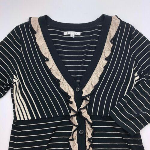 CAbi Cardigan Sweater Womens Small Black Stripe 3/4 Sleeve Ruffle Button B13-03P image 2