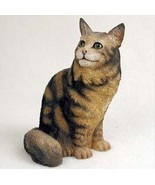MAINE COON BROWN CAT Figurine Statue Hand Painted Resin Gift - $17.25