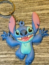 Disney Parks Exclusive Stitch Happy Face Key Chain Ring Blue Rubber 3d - $29.65
