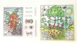 Set of 2 House and Garden Stamp Sets - Scrapbooking - Card Making - Art Journal