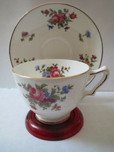 Crown Staffordshire Teacup And Saucer - Roses And Other Flowers - Gold Trim - $18.00