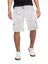 Men's Belted Casual Cotton Multi Pocket Cargo Shorts With Metal Embellishments image 5
