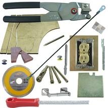 Tile & Glass Cutter Kit BLK LH Curve Outlet Jigsaws Rodsaw Grinder 5 Drills File - $83.22