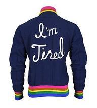 Womens I'm Tired Classic Cotton Rainbow Rib Knit Bomber Jacket image 1