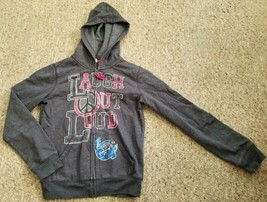 OLD NAVY Gray Laugh Out Loud Zip Front Hoodie Girls Size L 10-12 - $6.79