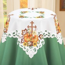 Embroidered Pumpkin and Cross Table Linens-Square - $14.26