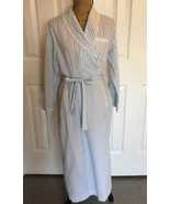 VINTAGE LORD & TAYLOR ROBE Wedding Lace Top Coat MEDIUM  White Blue Lace - $83.22