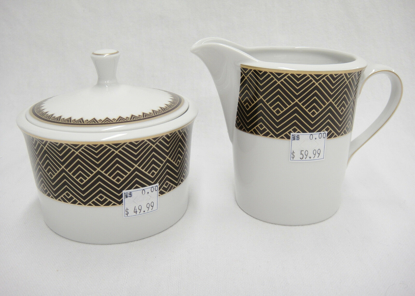 Ralph Lauren Hastings Chocolate Sugar Bowl with Lid & Creamer New Brown Gold