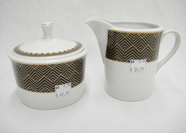 Ralph Lauren Hastings Chocolate Sugar Bowl with Lid & Creamer New Brown ... - $19.79
