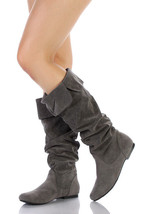 Gray Faux Suede Slouchy Knee High Flat Boot Qupid Neo-100xx - $14.99