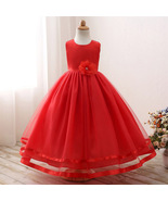Cute Party Wear Red Color Tulle Gown for Girls - $52.99+