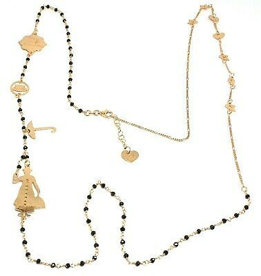 Long Necklace 35 3/8in, 925 Silver, Mary, Hat, Umbrella, Stars, le Favole